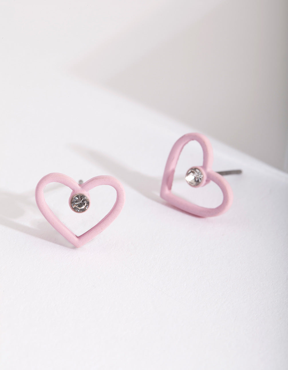 Kids Pink Open Heart Earring