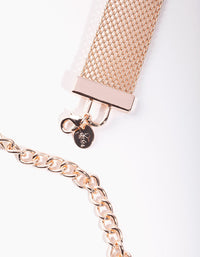 Rose Gold Mesh Chain Belt - link has visual effect only