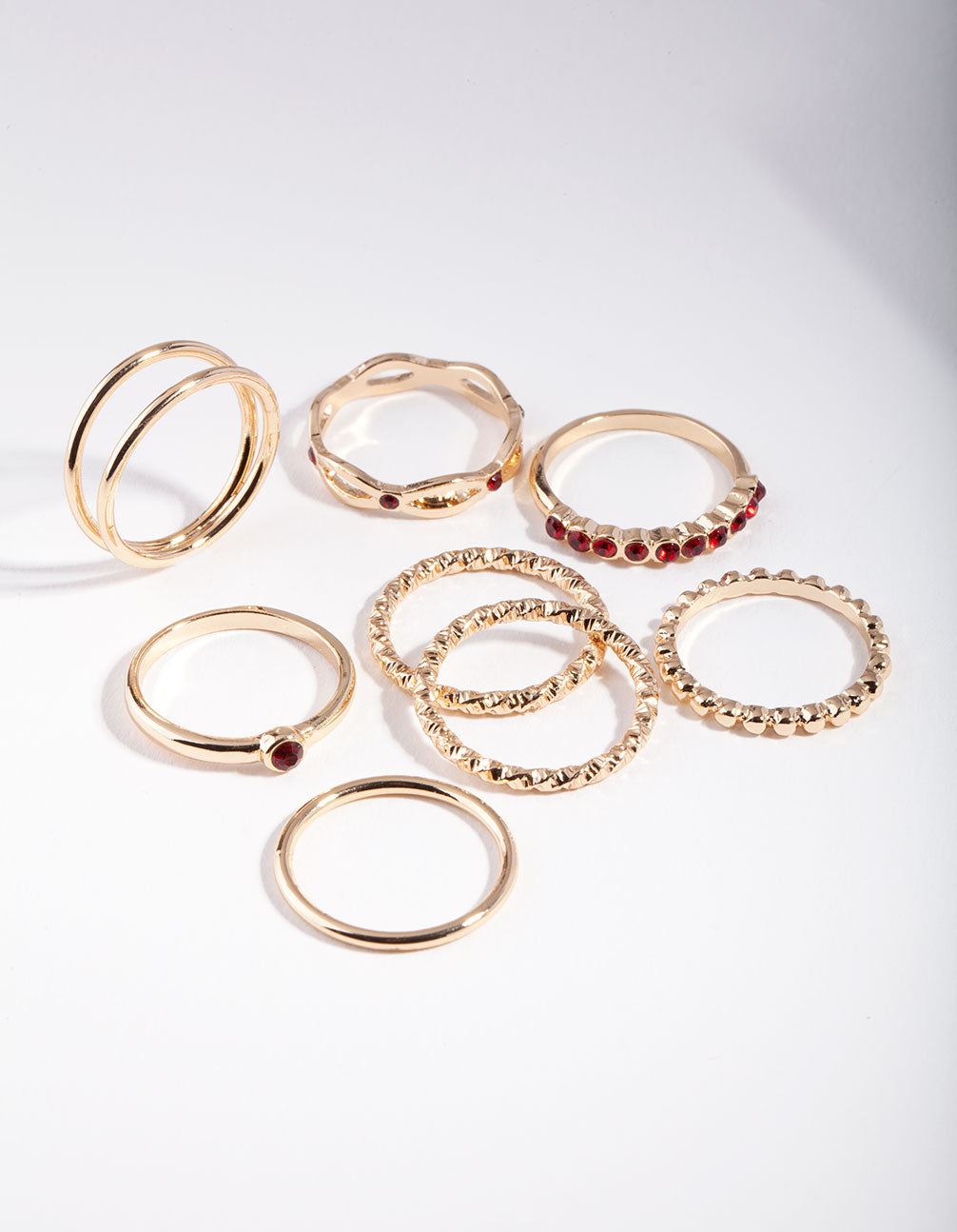Gold Red Textured Finish Ring Pack
