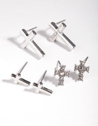 Rhodium Diamante Cross Earring 3 Pack - link has visual effect only