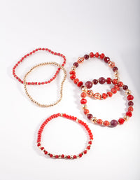 Red Multi Bead Stretch Bracelet 5 Pack - link has visual effect only