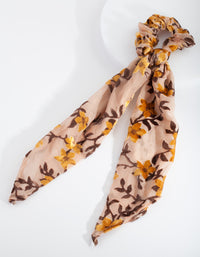 Yellow Velvet Floral Scrunchie Scarf - link has visual effect only