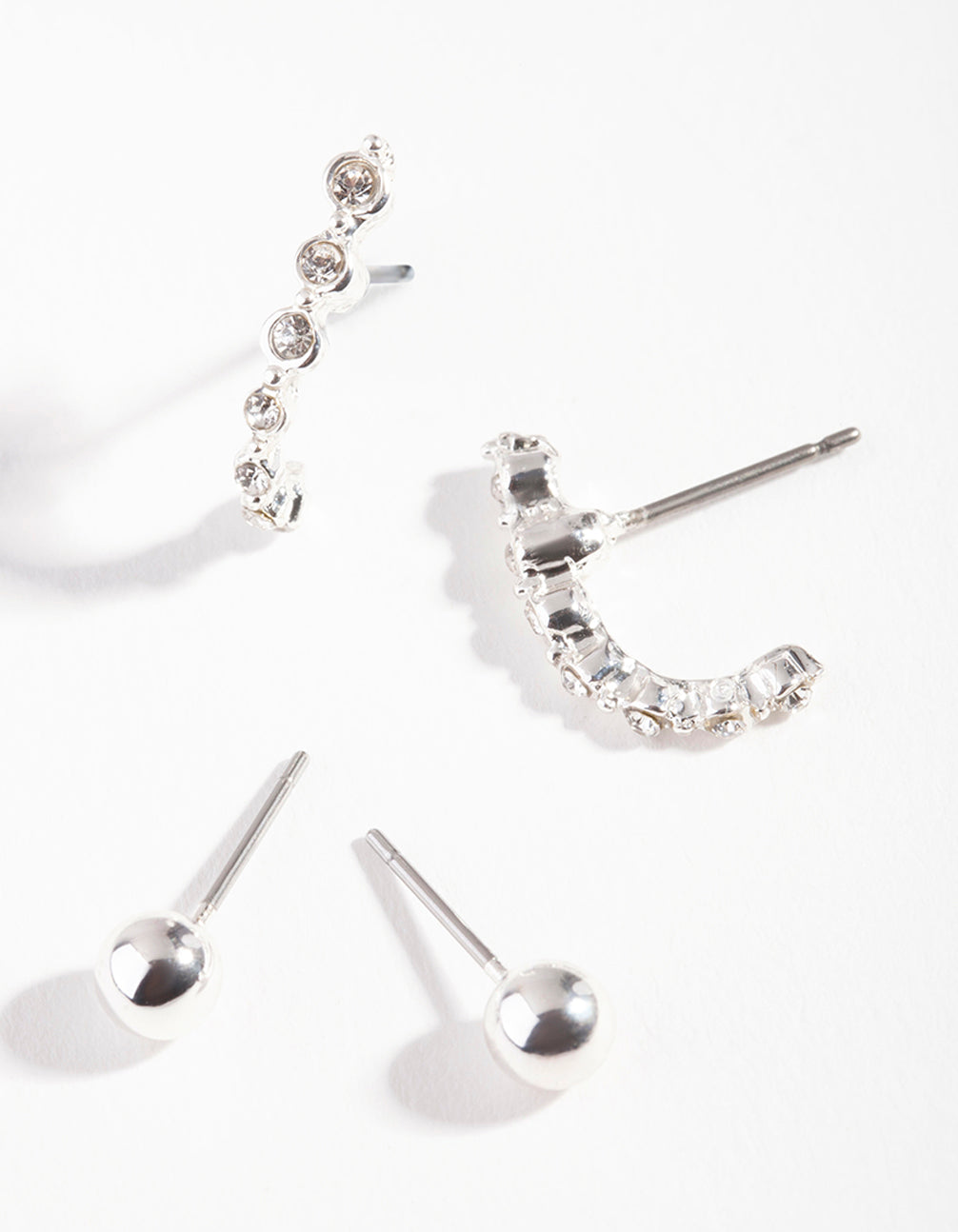 Silver Ball Diamante Earring 2 Pack