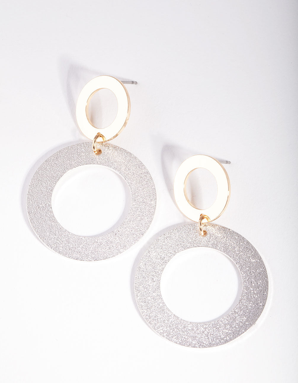 Mixed Metal Double Circle Texture Earring
