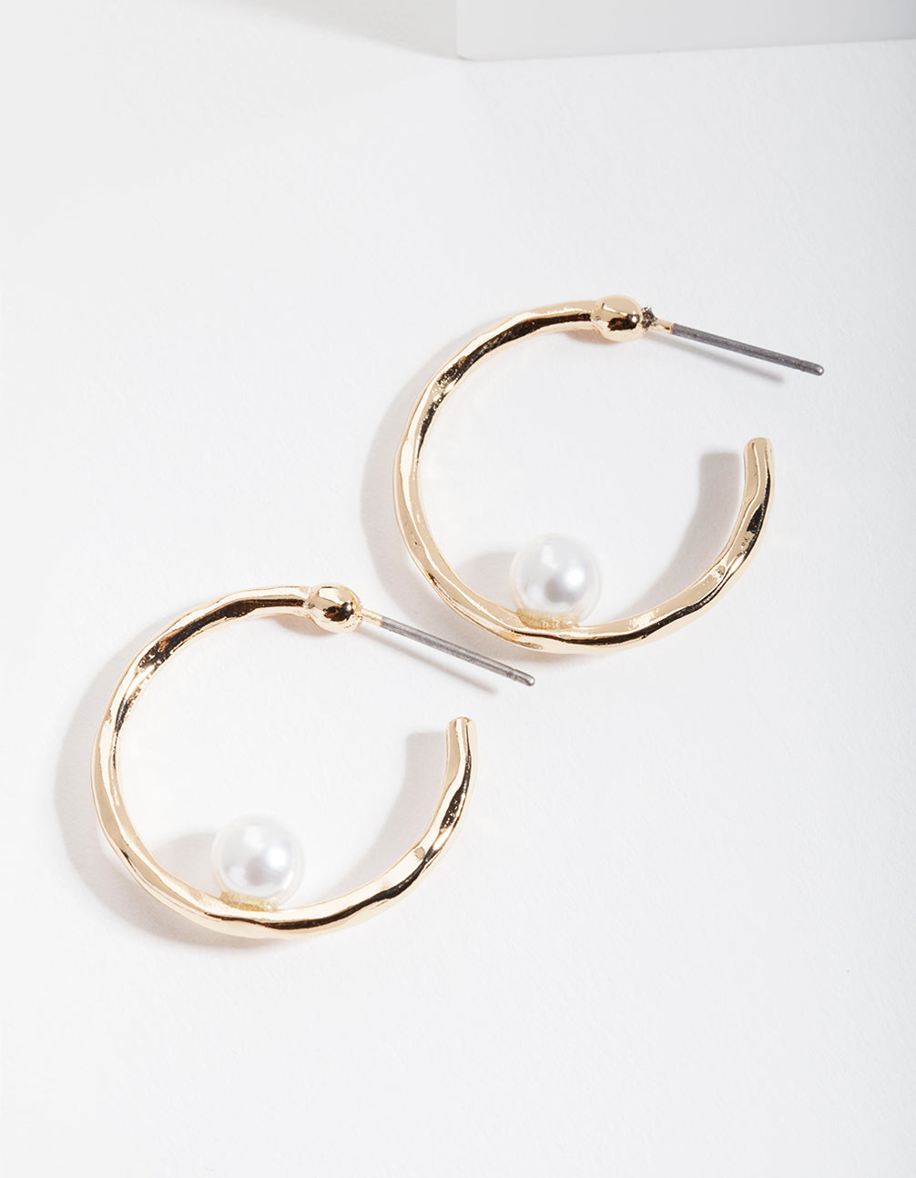 Gold Simple Pearl Hoop Earring