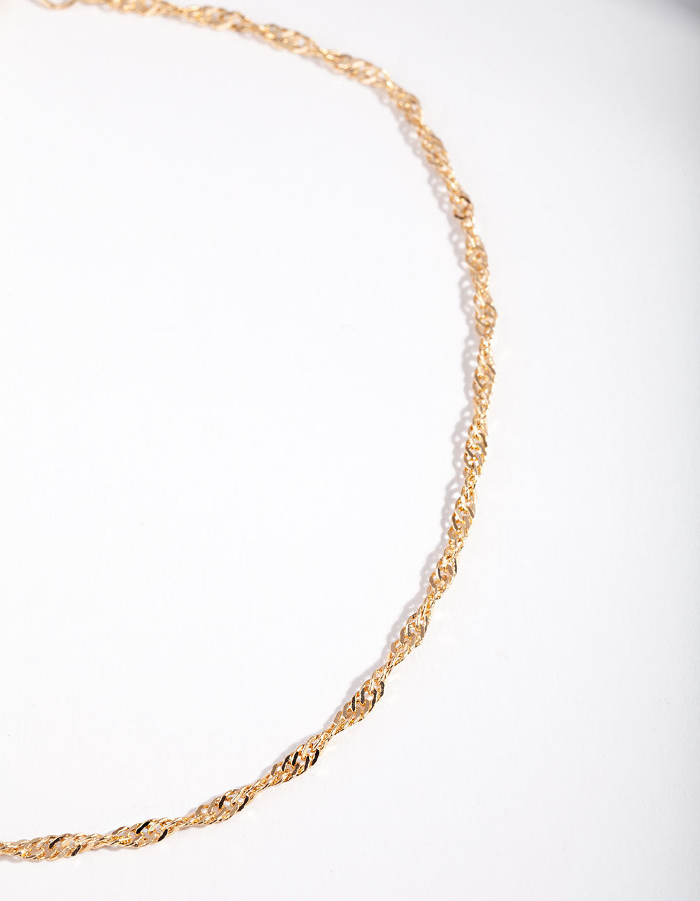Gold Twist Chain Choker Necklace