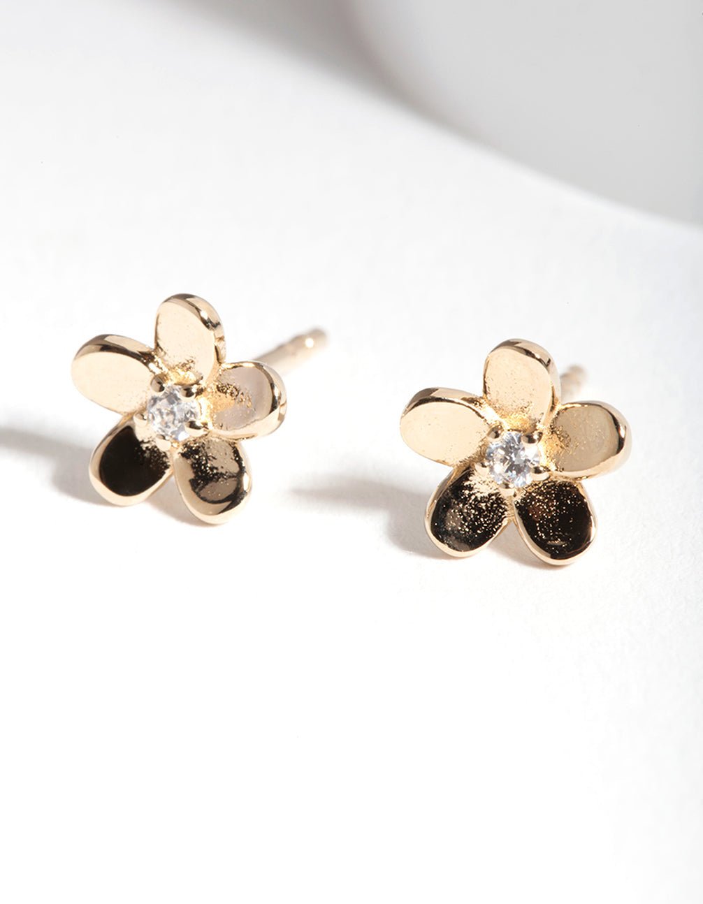Gold Plated Sterling Silver Flower Cubic Zirconia Stud Earring