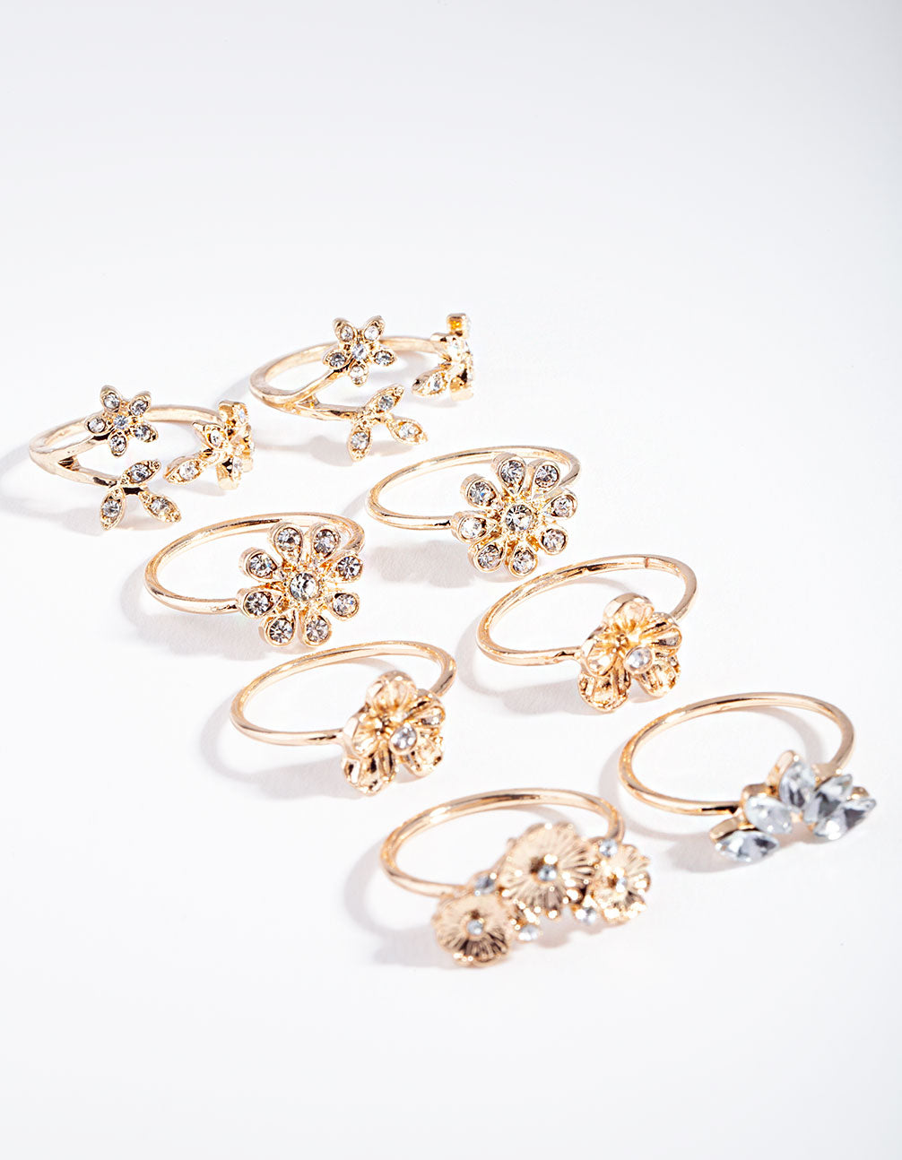 Gold Diamante Floral Ring 8 Pack