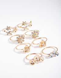 Gold Diamante Floral Ring 8 Pack - link has visual effect only