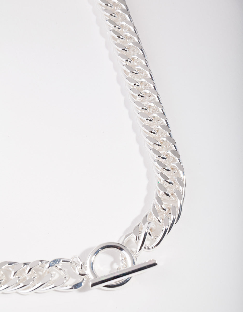 Real Silver Plated Curb Chain Necklace