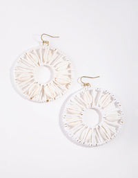 White Shell Disc Drop Earrings - link has visual effect only