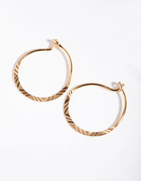 Gold Plated Sterling Silver Line Hoop Earring - link has visual effect only
