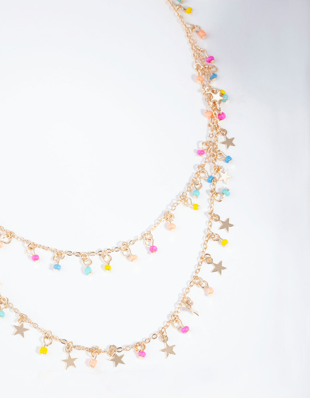 Gold Bright Star Double Row Necklace