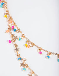 Gold Bright Star Double Row Necklace - link has visual effect only