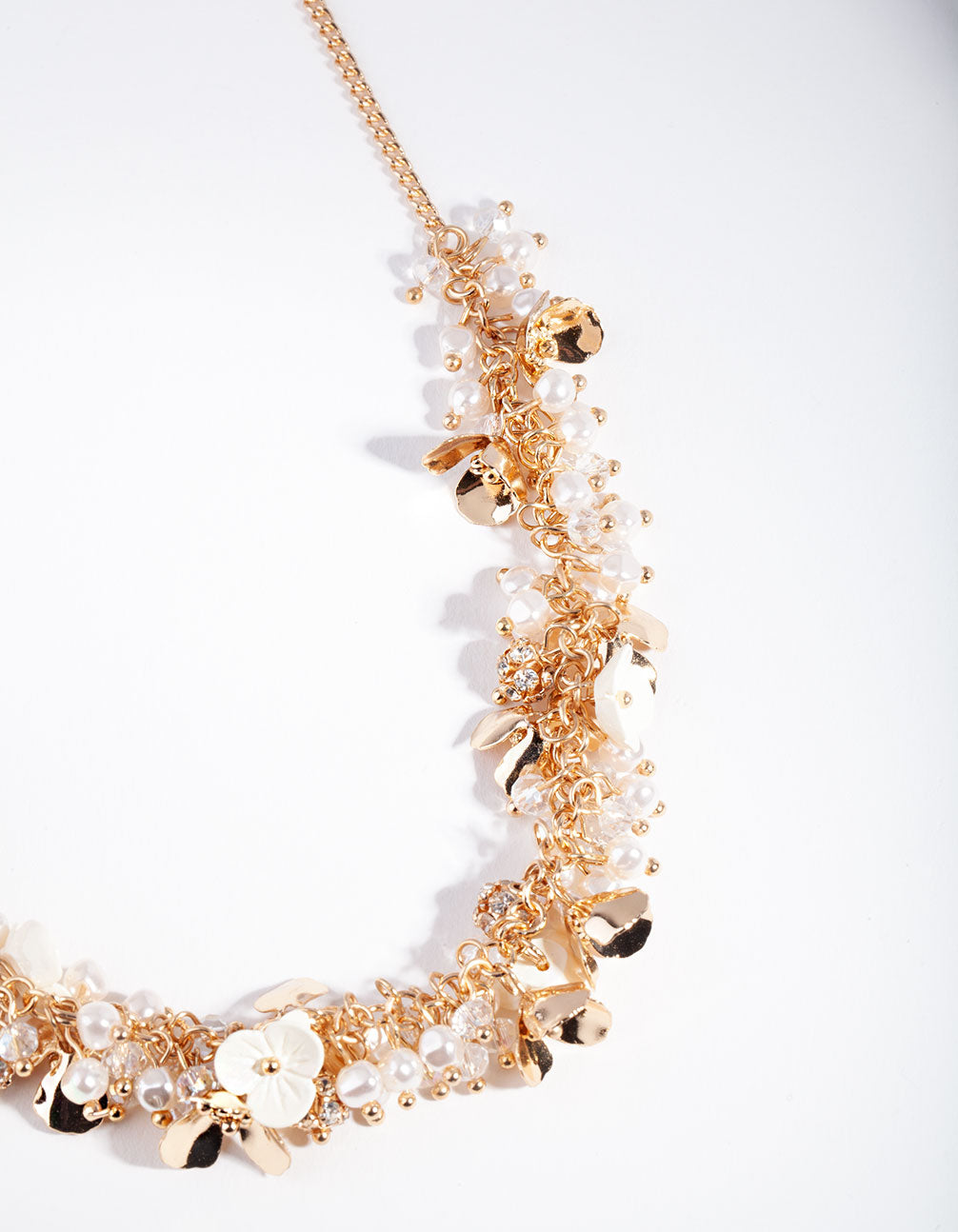 Gold Pearl Flower Cluster Necklace