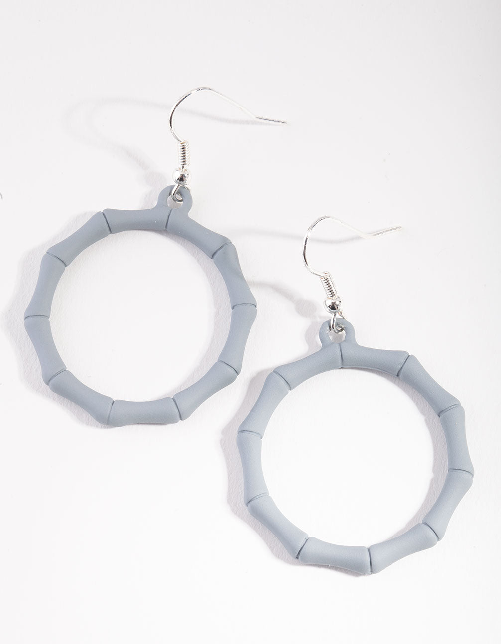 Matte Grey Bamboo Circle Drop Earrings