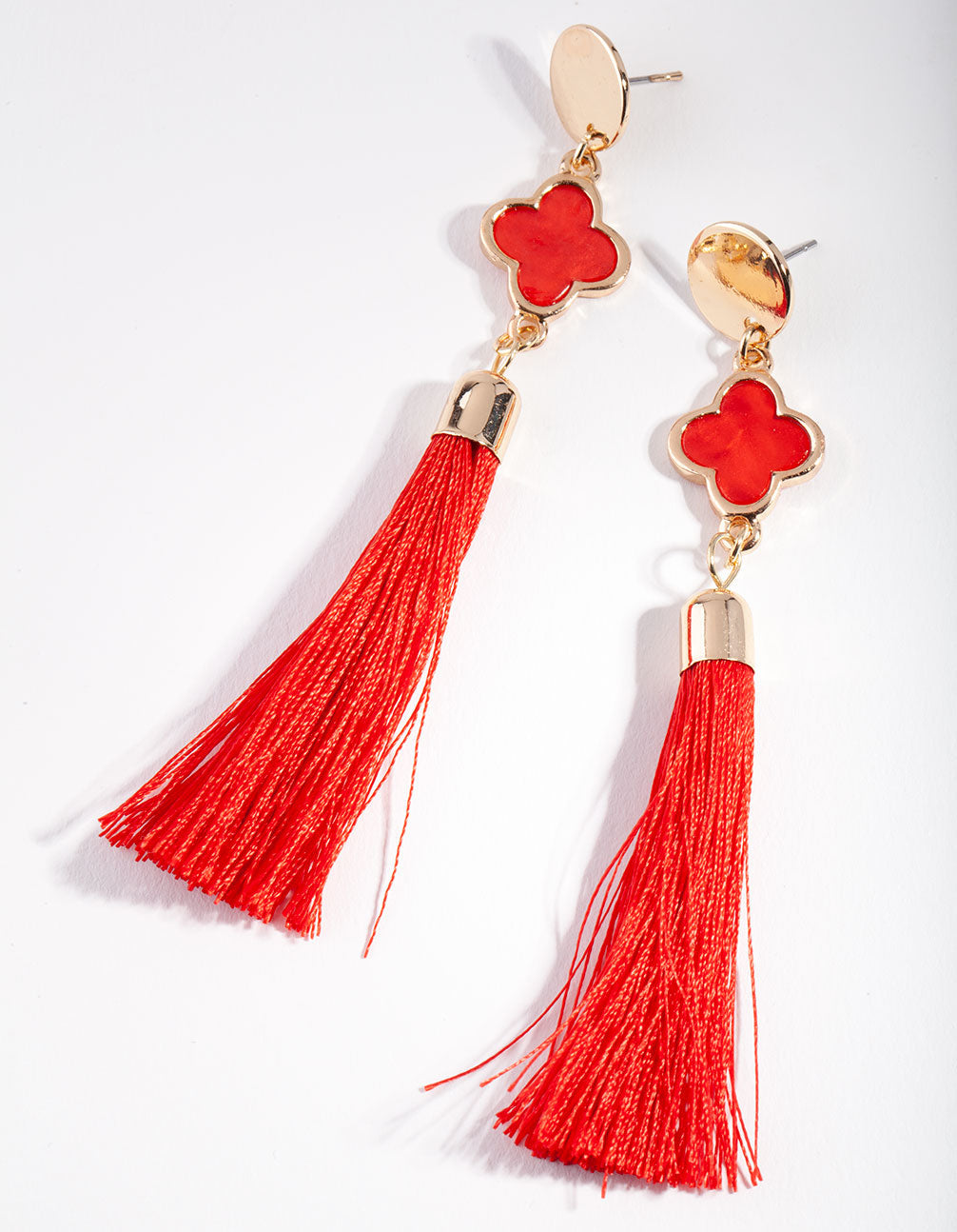 Gold Red Disc Tassel Drop Earrings
