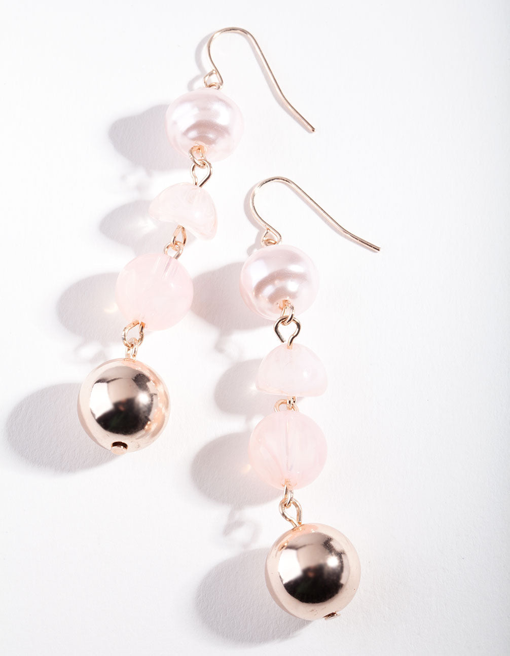 Rose Gold Pink Circle Bead Earring