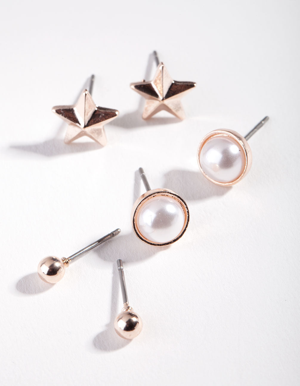 Rose Gold Pearl Star Earring 3 Pack