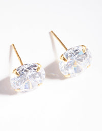 Gold Plated Sterling Silver 9.5mm Cubic Zirconia Stud Earrings - link has visual effect only