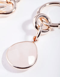 Rose Gold Linked Rose Quartz Hoop Earring - link has visual effect only