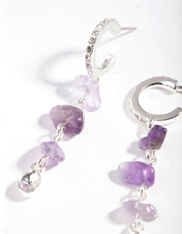 Silver Multi Amethyst Drop Earring - link has visual effect only