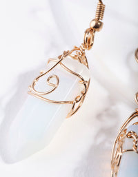 Gold Coil Wrap Moonstone Earring - link has visual effect only