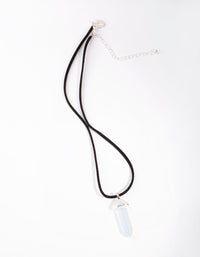 Silver Suede Rope Moonstone Necklace - link has visual effect only