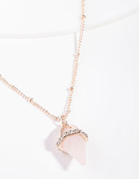 Rose Gold Encased Rose Quartz Stone Necklace - link has visual effect only
