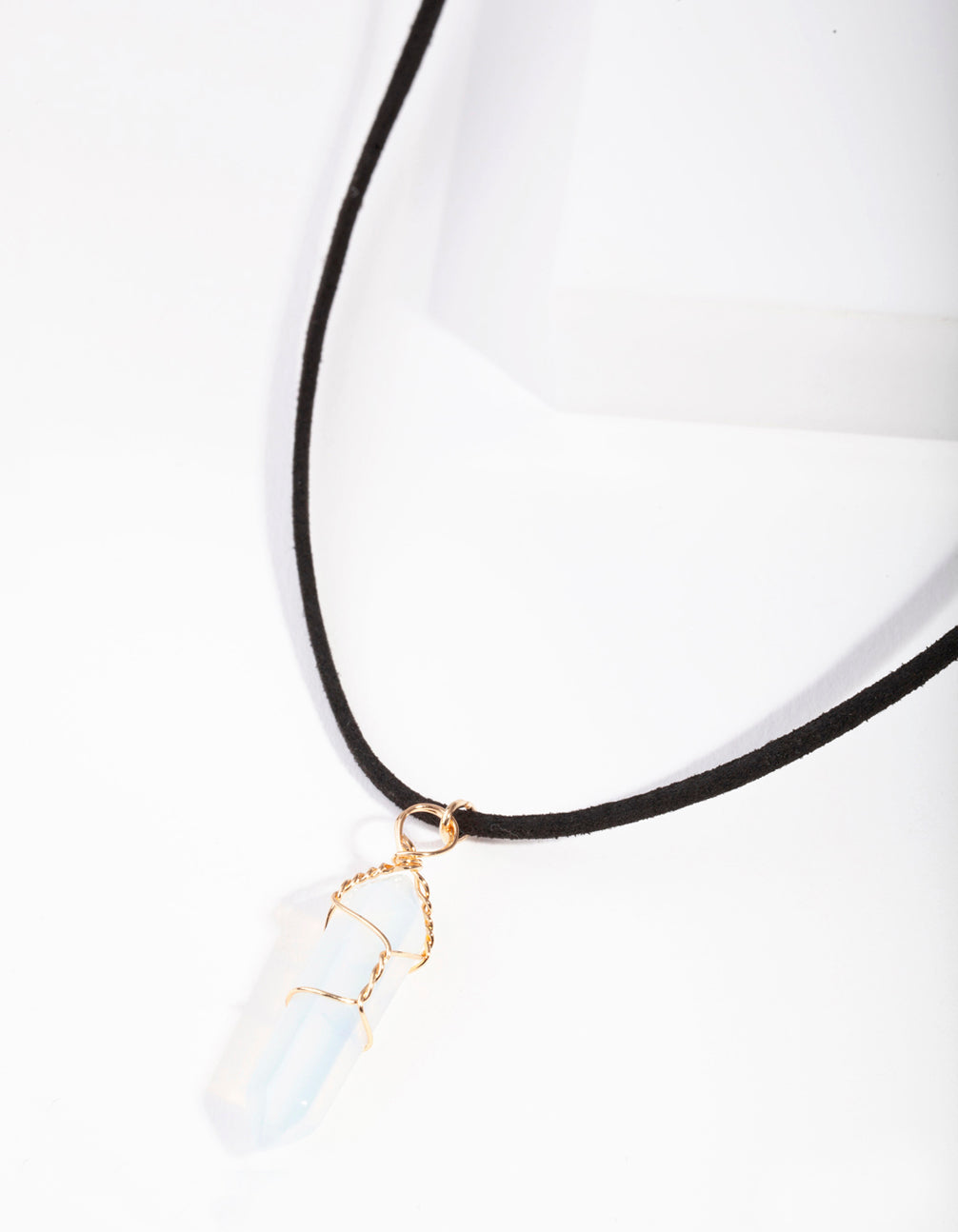 Gold Wire Wrap Moonstone Necklace