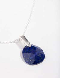 Sterling Silver Faceted Lapis Pendant Necklace - link has visual effect only