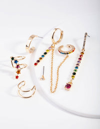 Gold Stone Rainbow Diamante Ear Stack - link has visual effect only
