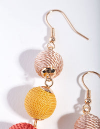 Gold 3 Graduating Tread Bead Drop Earring - link has visual effect only