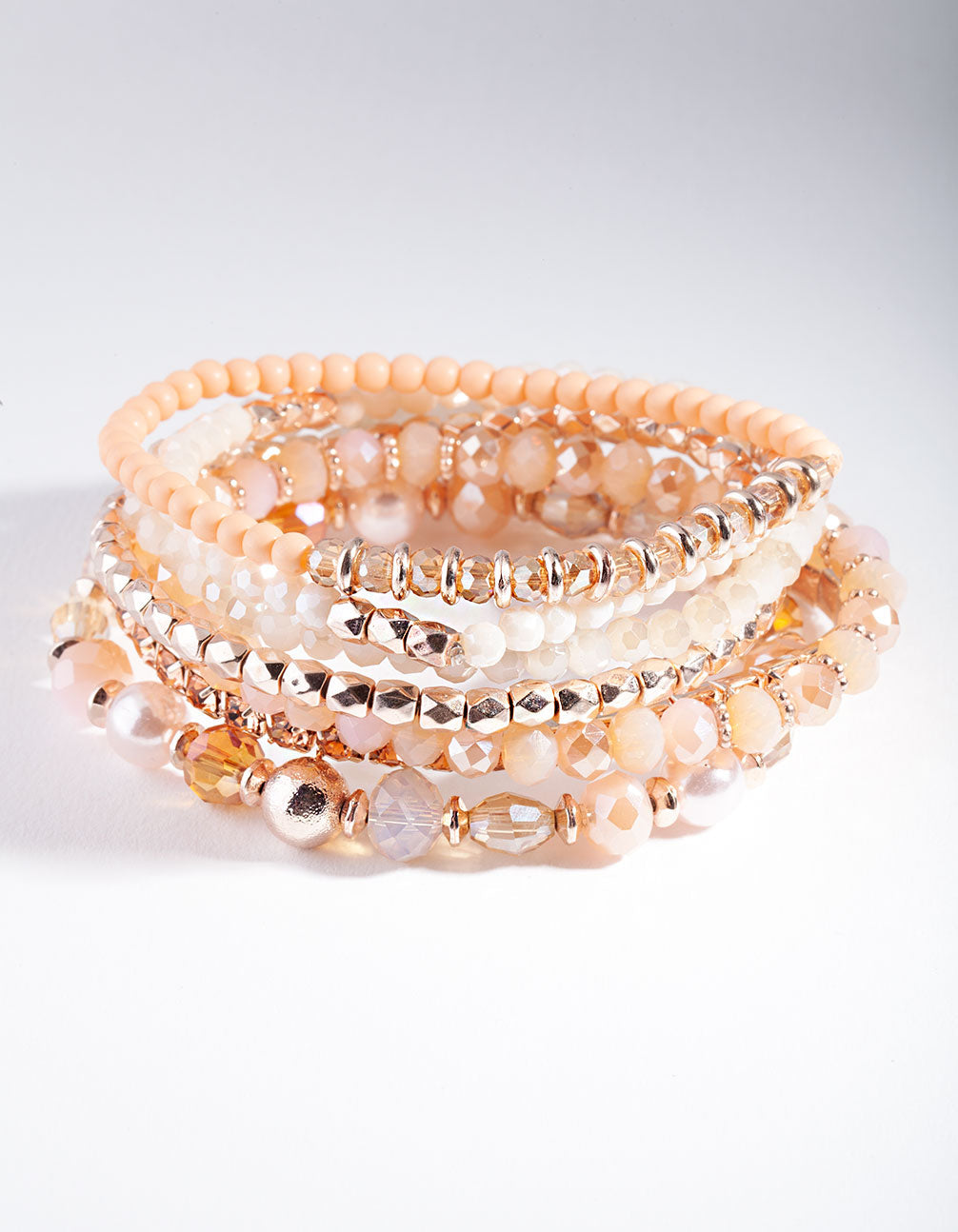 Rose Gold Peach Faceted Bead Bracelet Pack