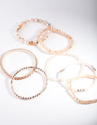 Rose Gold Peach Faceted Bead Bracelet Pack - link has visual effect only