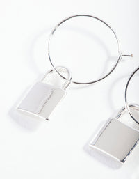 Silver Padlock Fine Hoop Earring - link has visual effect only