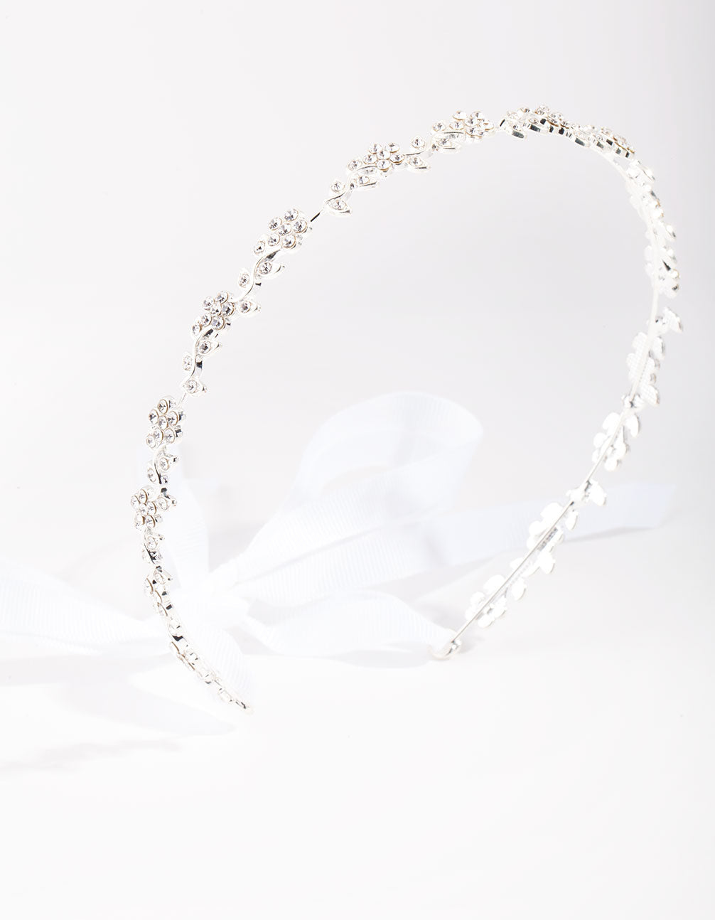 Silver Diamante Flower Tie Halo Headband