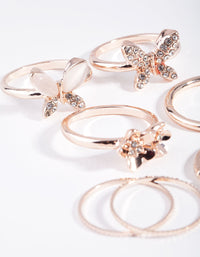 Rose Gold Butterfly and Flower 7 Pack Rings - link has visual effect only