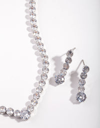Rhodium Diamond Simulant Circular Jewellery Set - link has visual effect only