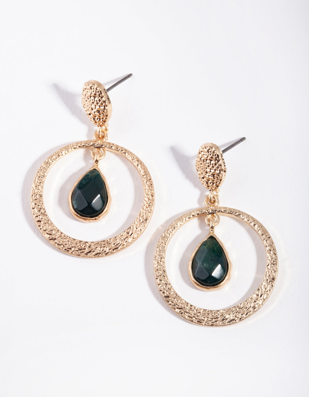 Gold Green Mix Bead Drop Earrings