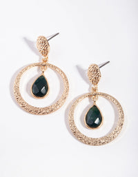 Gold Green Mix Bead Drop Earrings - link has visual effect only