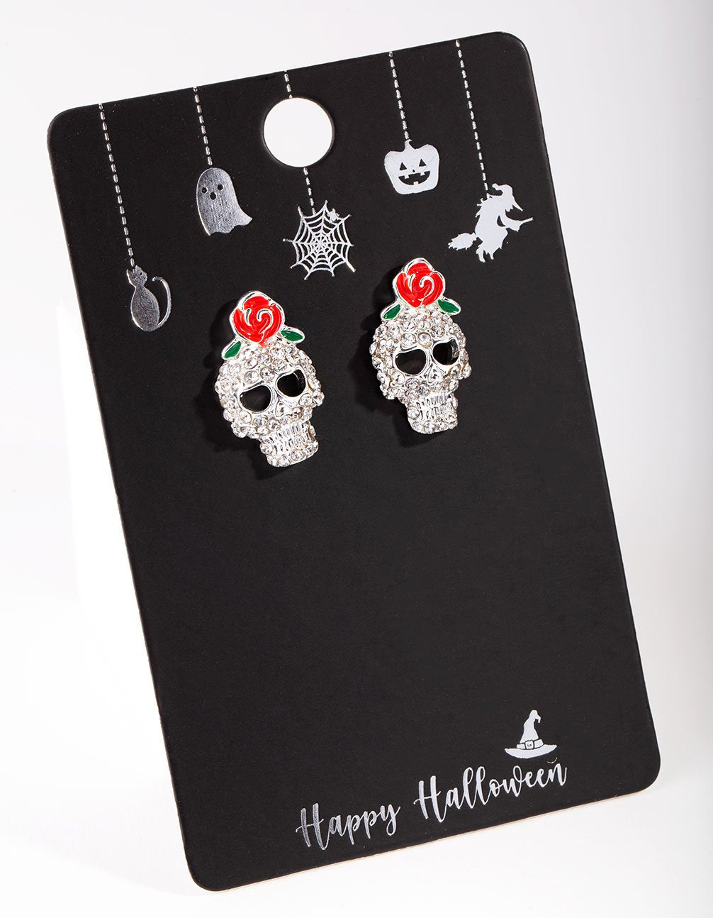 Silver Diamante Skull and Roses Earring