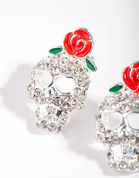 Silver Diamante Skull and Roses Earring - link has visual effect only