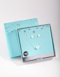 Sterling Silver Freshwater Pearl Necklace and Earring Set - link has visual effect only