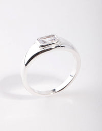 Real Silver Plated Oval Diamante Ring - link has visual effect only