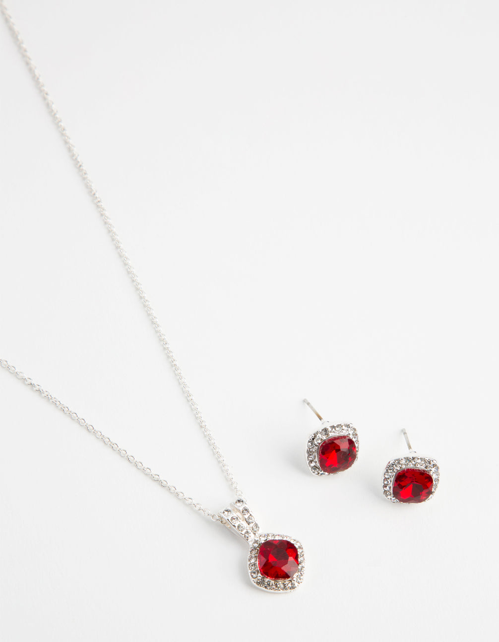 Silver Festive Square Diamante Necklace and Earrings Set