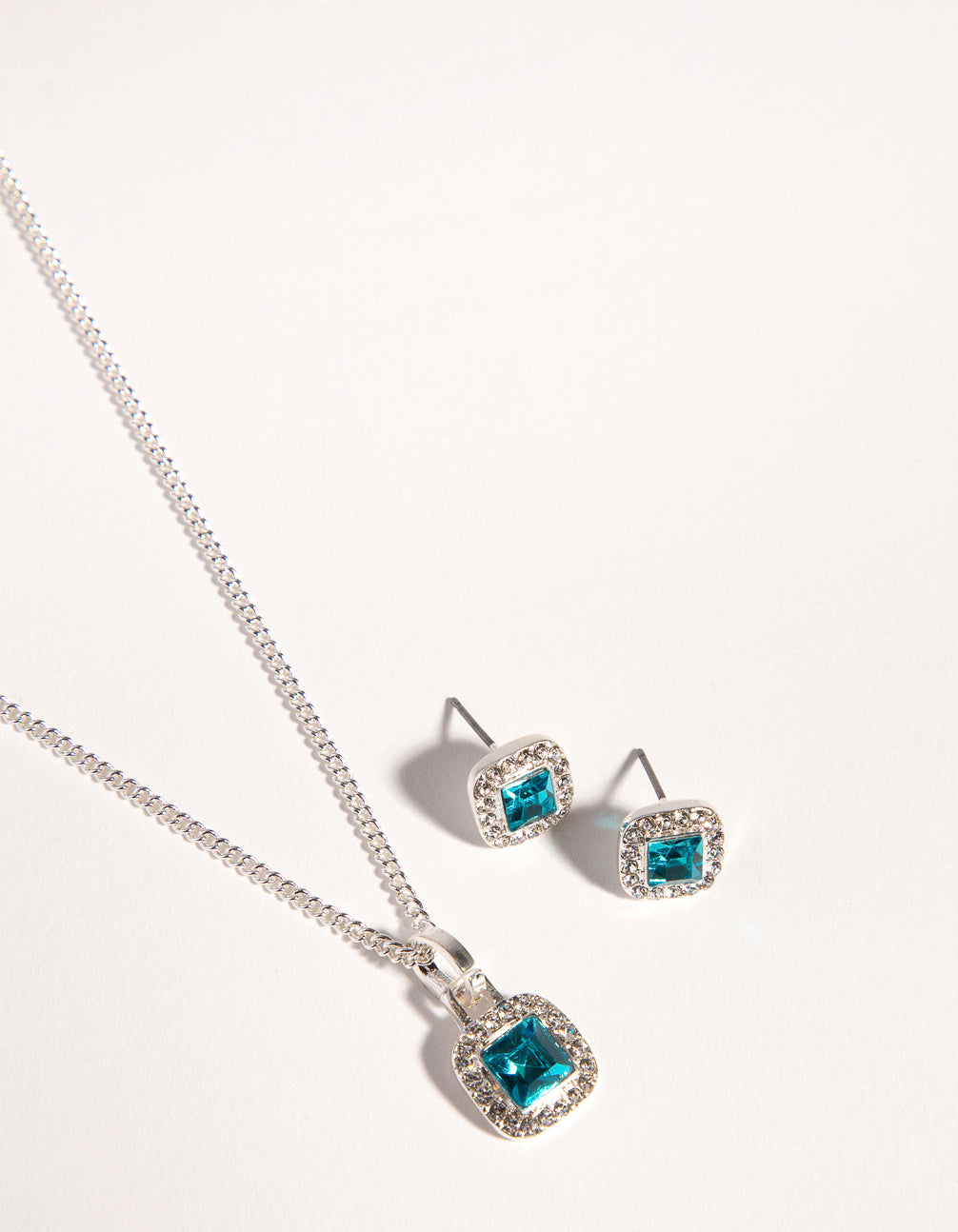 Silver Square Cut Diamante Necklace and Earrings
