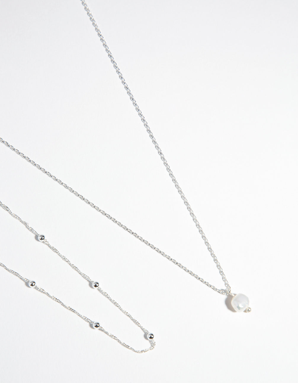 Real Silver Plated 2-Row Single Pearl Drop Necklace