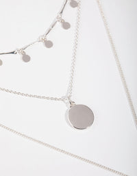 Silver Fine Drop and Bar 3-Row Necklace - link has visual effect only