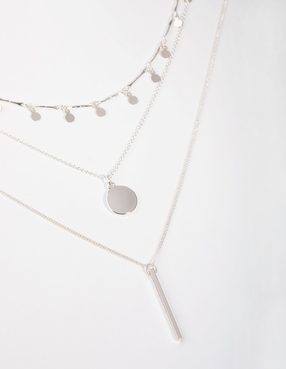 Silver Fine Drop and Bar 3-Row Necklace